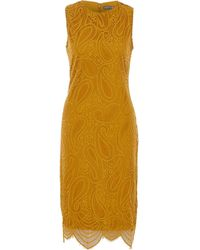 TK Maxx Mustard Lace Midi Dress - Yellow