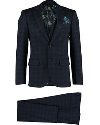 TK Maxx & Grey Check Three Piece Suit - Blue