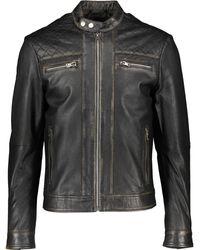 TK Maxx Black Distressed Leather Biker Jacket