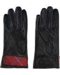 TK Maxx Black Leather & Tweed Cuff Gloves - Red