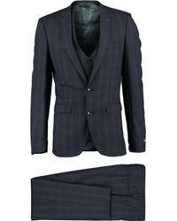 TK Maxx Three Piece Check Suit - Blue