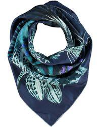 TK Maxx Silk Floral Scarf - Blue