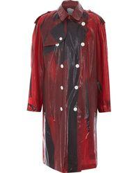 TK Maxx & Black Plastic Mac Coat - Red