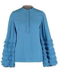 TK Maxx Blue Fringed End Row Sleeves Mini Dress - Metallic