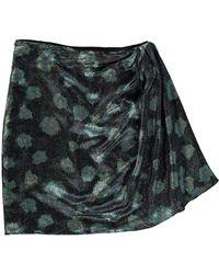 TK Maxx Green Silk Mini Skirt - Metallic