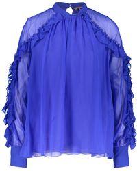 TK Maxx Blue Ruffled Silk Blouse