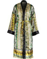 TK Maxx Grey & Green Reptile Effect Satin Kimono