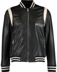 TK Maxx Leather Bomber Jacket - Black