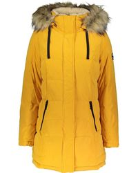 TK Maxx Quilted Faux Fur Trim Coat - Yellow