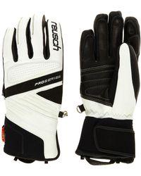 TK Maxx & White Leather Ski Gloves - Black