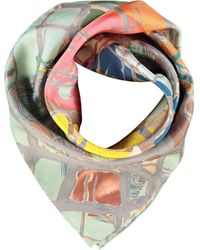 TK Maxx Ed Patterned Silk Scarf 70x70cm - Multicolour