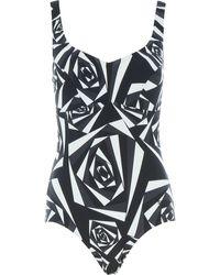 TK Maxx & White Patterned Swimsuit - Black