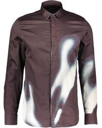 TK Maxx Dark Brown & White Oil Slick Shirt - Metallic