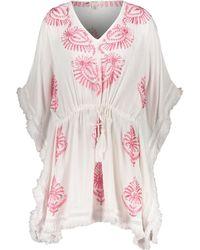 TK Maxx White Embroidered Floral Kaftan