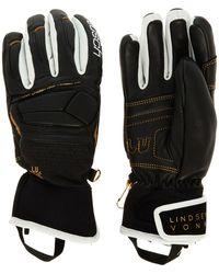 TK Maxx Black & Leather Ski Gloves - Metallic