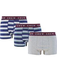 TK Maxx Three Pack Striped & Marl Boxers - Blue