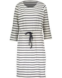 TK Maxx White & Striped Hilde Shirt Midi Dress - Blue