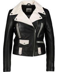 TK Maxx & White Leather Biker Jacket - Black