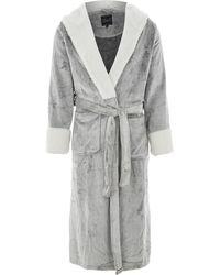 TK Maxx Grey Plush Sherpa Trim Robe - Metallic