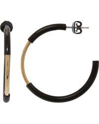 TK Maxx Black & Tone G Disc Hoop Earrings - Metallic