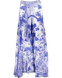 TK Maxx & White Silk Fan Sea Trousers - Blue