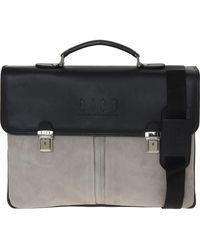 TK Maxx & Grey Leather Laptop Briefcase - Black