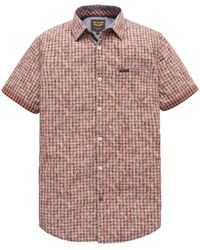 PME LEGEND Psis202253 3068 Short Sleeve Shirt Yd Check All-over Print Spiced Coral - Rood