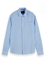 Scotch & Soda Regular Fit- Classic Striped Shirt - Blauw
