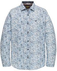 PME LEGEND Psi201218 5177 Long Sleeve Shirt Poplin Stretch Digital Print Dresden Blue - Blauw