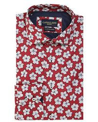 Cavallaro Overhemd Bloemprint - Rood