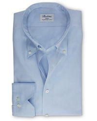 Stenstroms Heren Overhemd Licht Pinpoint Slimline - Blauw