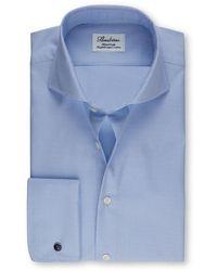 Stenstroms Heren Overhemd Licht Structuur Dubbele Manchet Fitted Body - Blauw