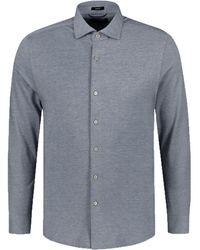 Dstrezzed Shirt Cut Away Collar Melange 303368/649 - Blauw
