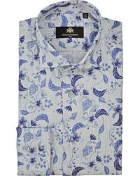 Circle Of Gentlemen Overhemd Brad Linnen Blader Print Cutaway Slim Fit - Grijs