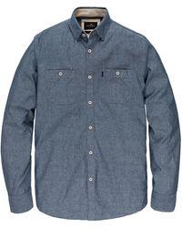 Vanguard Vsi205210 5028 Long Sleeve Shirt Slub Chambray Blue - Blauw