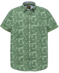 PME LEGEND Psis192225 6198 Short Sleeve Shirt Poplin Print Alex Deep Grass Green - Groen