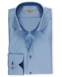 Stenstroms Heren Overhemd Navy Contrast Binnenkraag Twill Slimline - Blauw