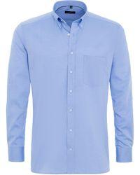 Eterna Heren Overhemd Fijn Oxford Classic Button-down Modern Fit Borstzak - Blauw