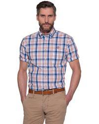 Campbell Casual Shirt Met Korte Mouwen - Blauw