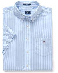 GANT Overhemd Licht Streep Korte Mouw Button Down Regular Fit - Blauw