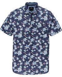 Vanguard Vsis202232 5026 Short Sleeve Shirt Print On Cotton/linen Blueprint - Blauw