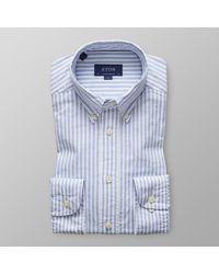 Eton of Sweden Heren Overhemd Oxford Licht Streep Button-down Contemporary Fit - Blauw