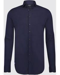 BLUE INDUSTRY Heren Overhemd Oscar Jersey Semi Spread Boord - Blauw