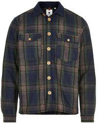 Anerkjendt Aklion Wool Check Overshirt Pine Grove 9520961 - Blauw