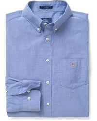 GANT Heren Overhemd College Button-down Poplin Regular Fit - Blauw