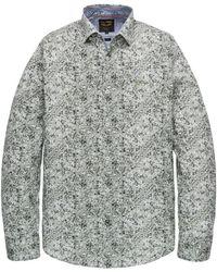 PME LEGEND Psi201218 6149 Long Sleeve Shirt Poplin Stretch Digital Print Deep Lichen Green - Groen