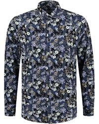 Dstrezzed Shirt Cut Away Collar Multi F 303344/649 - Blauw