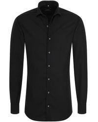 Eterna Heren Overhemd Uni Poplin Shark Slim Fit - Zwart