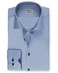Stenstroms Heren Overhemd Donker Knopentwill Slimline - Blauw