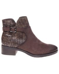 Tamaris Enkellaars Buckle Boot Mocca Combination - Zwart